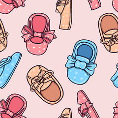 Children's footwear texture. Seamless pattern