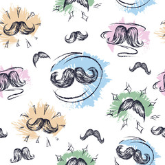 Whiskers  texture. Moustache. Seamless pattern.
