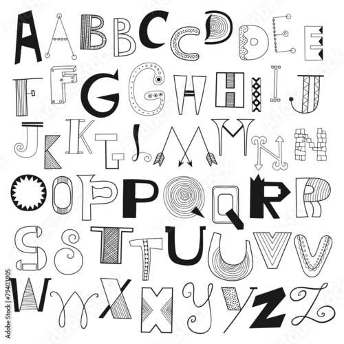 Hand drawn alphabet letters from A to Z