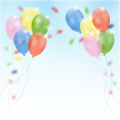 Birthday party background with flying balloons,confetti, vector