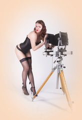 Pin-up photographer girl