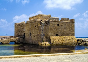 Paphos castle at paphos harbor in Cyprus in the daytime