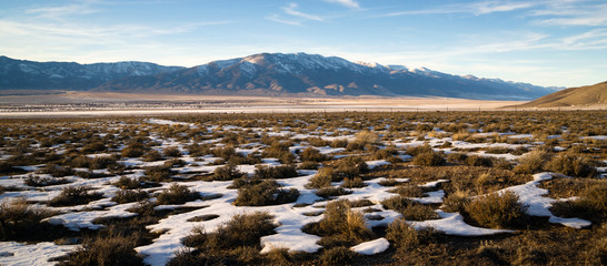 Snow Covered Sage Brush Mountain Landscape Surrounding Great Bas