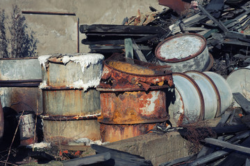 Group of barrels with toxic waste