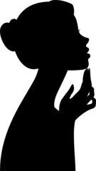 Silhouette of a girl isolated on white background