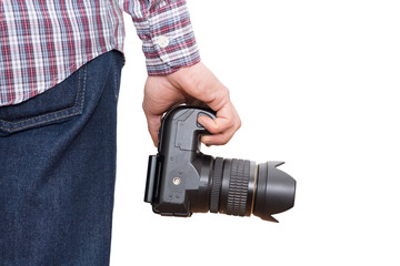Photographer holding camera near the legs