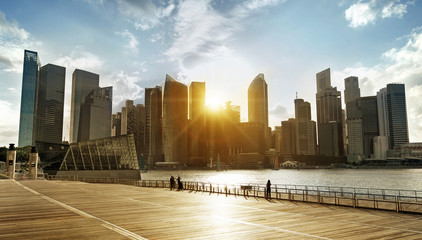 Foto op Plexiglas Singapore skyline at sunset