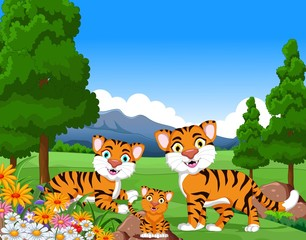 Tuinposter Vlinders tiger cartoon family in the jungle