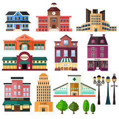 Buildings and lamp post icons