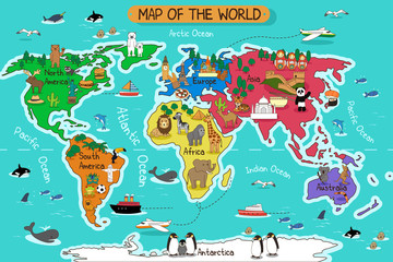 Poster World Map Map of the world