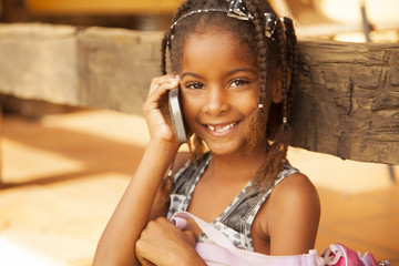 African american girl on the phone