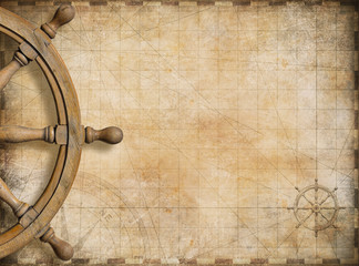 Fotorolgordijn Schip steering wheel and blank vintage nautical map background