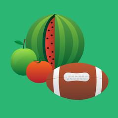 ball and fruit