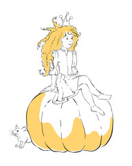 Illustration - cute little girl Princess Cinderella