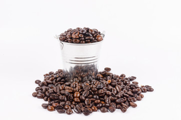 roasted coffee beans in bucket