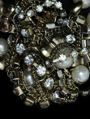 macro gold bead ,golden ball and pearl