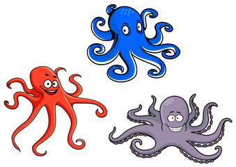 Red, blue and purple octopus