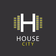 H letter, logo house, architecture icon