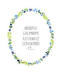 Watercolor floral frame with alphabet. Vector illustration