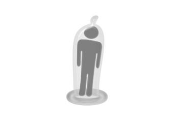 Kondom mit Männchen / Piktogramm