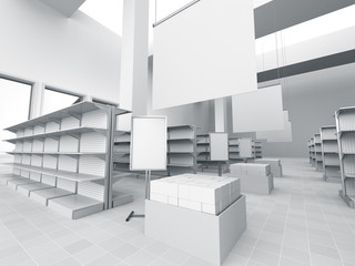 interior of a store with product island. 3D rendering