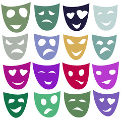 Masks of different emotions in different colors. Raster.