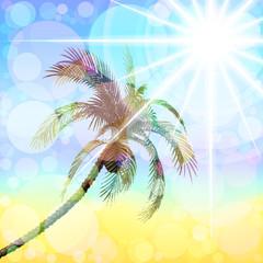 Palma on the background of blue sky. Raster. 2