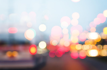Abstract multi exposure technic Transport traffic bokeh on the r