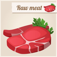 Detailed Icon. Raw  fresh meat.