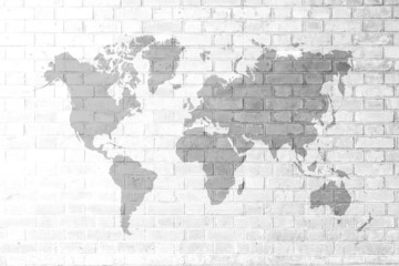 Red Brick wall texture Soft tone White color with world map