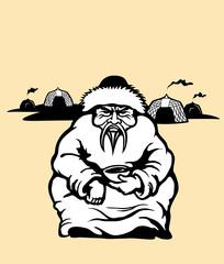Genghis Khan mongolian emperor. Vector illustration.