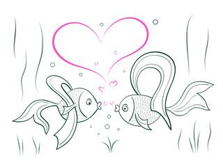 Couple in love fairy goldfish