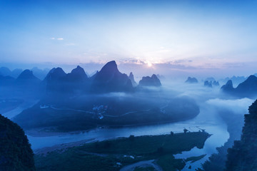 Foto auf Acrylglas Guilin sky,mountains and landscape of Guilin