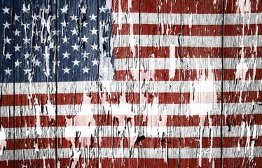 American flag peeling paint