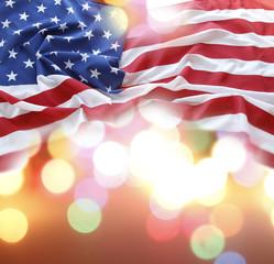 USA flag and bright lights