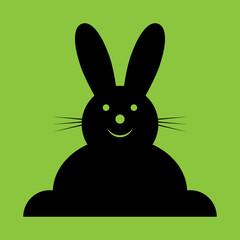 vector sitting smiling black Easter bunny