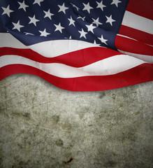 American flag on concrete