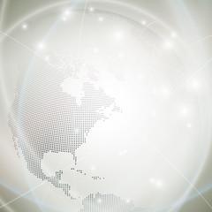 Dotted world globe, light design vector illustration