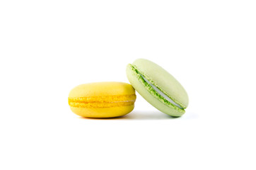 Foto auf Leinwand Macarons multicolored macaroon on a white background