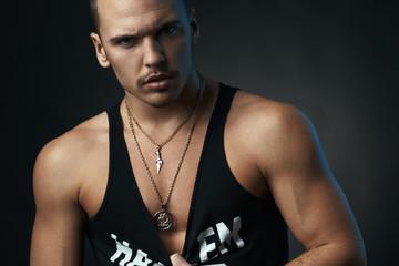 sexy  man on black background