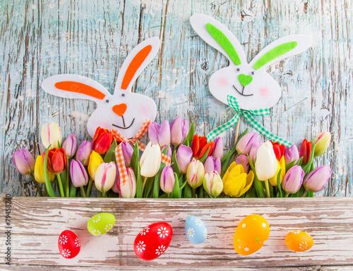 природа кролик цветы тюльпаны яйца пасха  № 271742 бесплатно