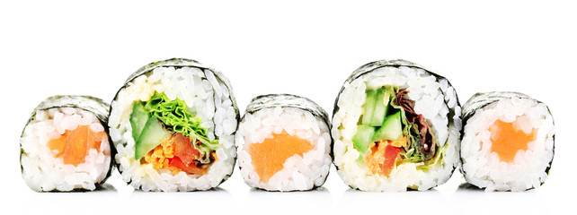 In de dag Sushi bar Sushi rolls isolated on white