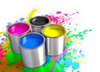 Wall Mural - paint buckets, cmyk concept