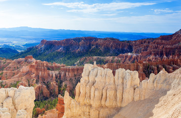 Line of Brown and Yellow Sandstone Cliffs in Bryce Canyon Nation