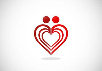 love couple abstract vector logo