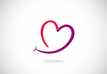 love smile line vector logo