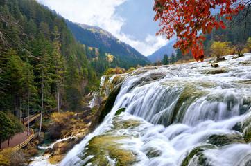 Pearl waterfall in Jiuzhaigou National Park