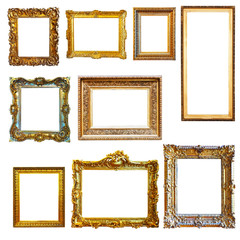 gold picture frames on white background