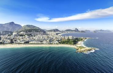 Aerial view of the Copacabana Beach in Rio de Janeiro