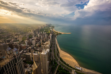 Wall Mural - Chicago skyline and lake Michigan at sunset
